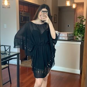 Black beach cover up One Size